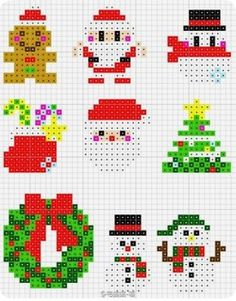 La magie de Noël en perles Hama - The magic of Christmas in Hama beads - Perler Bead Designs, Hama Beads Design, Diy Perler Beads, Pearler Bead Patterns, Perler Bead Art, Perler Patterns, Perler Bead Ornaments Pattern, Pixel Art Noel, Christmas Perler Beads