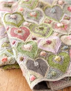 blanket of crocheted hearts