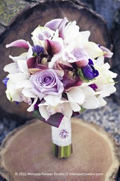 Posh Wedding Bouquet With: Lavender Roses, Purple Freesia, White Cymbidium Orchids, Purple/White Lady's Slipper Orchids + Green/Purple Tropical Foliage Purple Wedding Flowers, Bridal Flowers, Floral Wedding, Wedding Colors, Sister Wedding, Dream Wedding, Bride Bouquets, Cascading Bouquets, Purple Bouquets