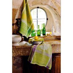 Torchon fantaisie Garnier-Thiebaut - Modèle : Les asperges - Torchon en coton - Coloris : vert