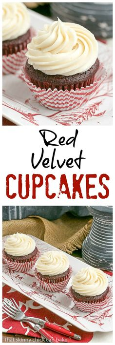 Red Velvet Cupcakes   The quintessential red velvet cupcakes made with buttermilk and a splash of of vinegar. The cream cheese icing is also to die for!! @lizzydo