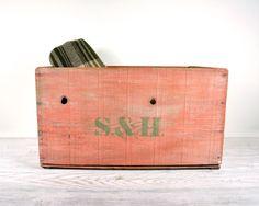 Vintage Painted Wood Crate / Rustic Wood Crate / by havenvintage, $58.00