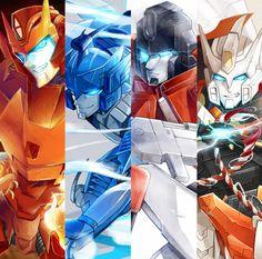 Rodimus Prime, Blurr, Perceptor, and Drift
