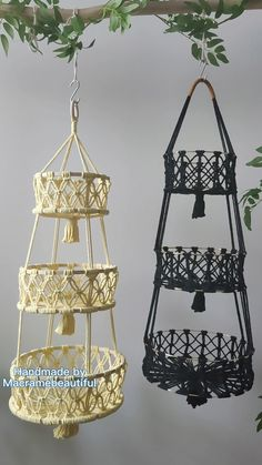 Dyi Baskets, Hanging Fruit Baskets, Basket Crafts, Storage Baskets, Craft Room Storage, Toy Storage, Rope Plant Hanger, Macrame Design, Basket Decoration