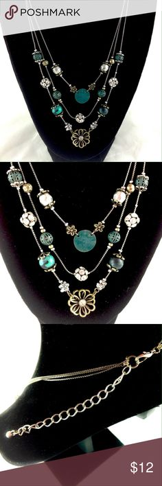 Layered Vintage Vibe Boho Necklace Pre-loved. EUC! Three layers of mixed textured and shaped beads in silver, green, crystal and flowers all on a dark silver chain.  Go-to necklace with just about any outfit!                 🔹Please ask all your questions before you purchase! I am happy to help! 🔹Sorry, no trades or holds. 🔹Please, no lowball offers 🔹Please use Offer Button! 💕Happy Poshing! Jewelry Necklaces