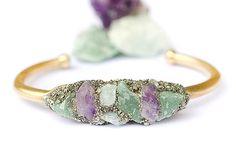 Raw Stone Cuff Bracelet -Amethyst - Aquamarine - Aventurine and Pyrite Stones -Boho Crystal Cuff  Bracelet brass