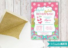 Lily-inspired Summer Pool Party - printable invitation design - girl's party ideas & decorations - diy - digital file - lilly pulitzer floral design - swimsuit - gold glitter - hot pink - bright aqua blue - lime green - slumber party - sorority - etsy.com