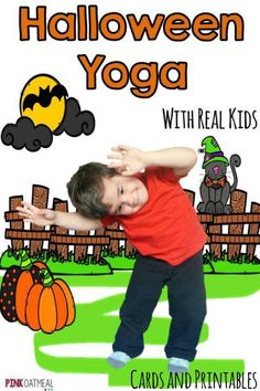 Halloween themed gross motor activities!  Perfect for preschool gross motor, elementary classrooms, physical education, and therapies or home.  Halloween activities are the best! Halloween yoga for kids.  Halloween themed kids yoga poses like black cat and googly eyes!  So fun!