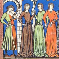 Musician with parti-colored dagged tunic entertains medieval ladies. century France, Paris, The Morgan Bible AKA Maciejowski Bible, Pierpoint Morgan Library Consider for Egg Tempra Medieval Music, Medieval Life, Medieval Fashion, Medieval Clothing, Medieval Art, Historical Clothing, Historical Art, Gothic Fashion, Medieval Costume