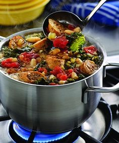 Turkey Sausage, Kale, White Bean & Tomato Stew