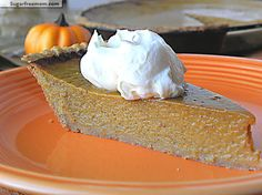 Healthy Pumpkin Pie...  the pie filling is about 50 calories a slice the crust is 145 calories a slice. look for a better recipe for crust