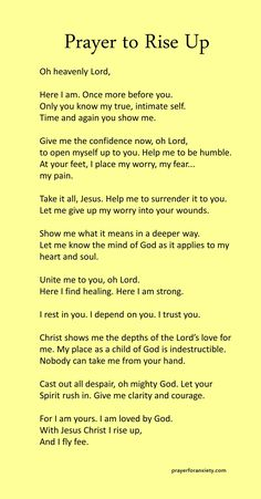 Prayer to rise up – Prayer For Anxiety Prayer Scriptures, Bible Prayers, Faith Prayer, God Prayer, Prayer Quotes, Bible Verses Quotes, Faith Quotes, Bible Verses For Hard Times, Catholic Prayers