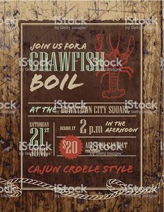 Vector illustration of a Crawfish boil invitation design template. Invitation Design, Invitations, Wooden Background, Advertising Design, Free Vector Art, Label Design, Identity Design, Magazine Design, Graphic Design Inspiration