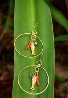 Gook Luck Fish Hook Hoop Earring