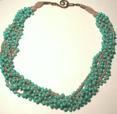 Mint Julep Crochet Necklace . Multi Strand by blueskybeads on Etsy