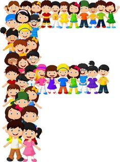 Los niños pequeños forman el alfabeto F Award Template, Alphabet Pictures, School Cartoon, Letters For Kids, School Clipart, Bookmarks Kids, Funny Character, Letter F, Beginning Of School