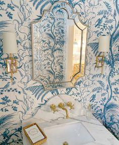 Bird and Thistle - A Timeless Classic by Brunschwig & Fils - The Glam Pad Bathroom Interior Design, Home Interior, Interior Decorating, Washroom Design, Decorating Ideas, Toilet Design, Decorating Kitchen, Interior Colors, Interior Livingroom