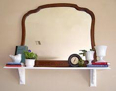 Shelf decor and repurposing of dresser mirror