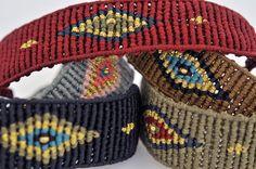 Eye Cuff Loom Bracelet Patterns, Bead Loom Bracelets, Macrame Patterns, Macrame Bracelets, Handmade Bracelets, Macrame Dress, Macrame Art, Macrame Knots, Micro Macrame