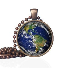 Earth pendant - Earth Necklace - Planet Earth pendant - Planet Earth necklace - astronomy pendant - outer space pendant by KingFamilyCreations