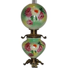"""Museum Quality ~ LARGE Gone with the Wind Oil Lamp ~11"""" SHADE~Masterpiece Breathtaking BEAUTY WITH HAND PAINTED MUMS ~ Outstanding Fancy Ornate Font Spill Ring and Base~ Original Condition ~Original Parts ~ Collector Piece ~ Master Artistry"""