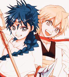 Aladdin and Alibaba // Magi Manga Anime, Anime Magi, Anime Guys, Magi 3, Sinbad Magi, Anime Hatsune Miku, Hakuryuu Ren, Magi Adventures Of Sinbad, Magi Kingdom Of Magic