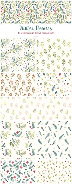 Winter Flowers Christmas Patterns by Elan Creative Co. on @creativemarket