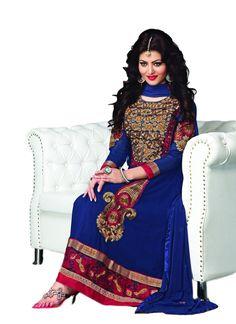 Adah Semi Stitched Faux Georgette Designer Salwar Kameez for more visit @ http://indianfashionhub.wordpress.com/2014/08/23/factors-to-consider-when-you-purchase-womens-salwar-suits-online/