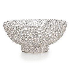 Our striking Marcus Bowl displays row upon row of brilliant faceted crystals, hand set in a silver metal mesh.