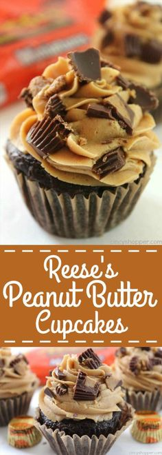 Reese's Peanut Butter Cupcakes - simple chocolate cupcake stuffed with a Reese's Miniature then topped with a creamy peanut butter frosting. cupcakes Reese's Peanut Butter Cupcakes Reeses Peanut Butter Cupcakes, Peanut Butter Frosting, Creamy Peanut Butter, Chocolate Cupcakes, Chocolate Muffins, Reeses Cake, Butter Icing, Chocolate Butter, Butter Pie