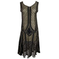 1920s Metallic Thread on Silk Flapper Dress | From a collection of rare vintage  at http://www.1stdibs.com/fashion/clothing//