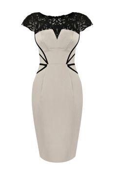 Vintage Lace Yoke Dress - OASAP.com
