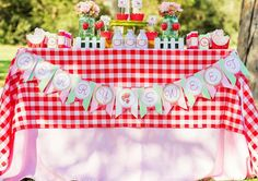 Strawberry picnic birthday party dessert table!  See more party planning ideas at CatchMyParty.com!