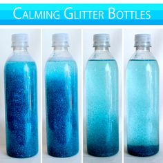 Calming Glitter Bottles - so much fun to create! Ask parents to bring an empty but clean plastic container with a lid....supply glitter and cooking oil and create your own glitter bottles. The swirling glitter will calm and mesmerize even fussy kiddos! :)