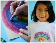 Crayons to Tee shirt. Draw on sandpaper w/ crayolas, iron the image on to a t-shirt.