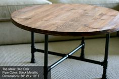 Round Industrial Coffee Table Reclaimed by sumsouthernsunshine