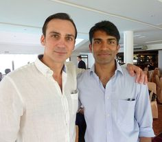 Henry Lloyd-Hughes and Nikesh Patel at the script read-through for Indian Summers | Courtesy of Rebecca Eaton for MASTERPIECE