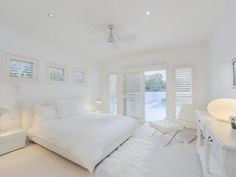 A completely white bedroom