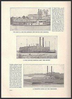 paperink id: prints304 Three Hospital Ships Ohio River: General Hospital Mound City and Marine Hospital; Mississippi River, Red Rover Hospital Ship (reverse side has an enlarged view of the Steamer Re