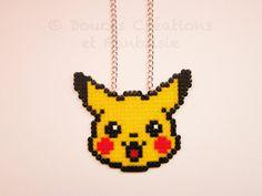 Pikachu Pokemon Necklace Jewellery perler hama di DoucesCreations