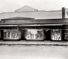 , Eight black and white photographs of interior and exterior of Elsternwick Coles store at various times, two dated 1947 and one dated others undated, Places In Melbourne, Victoria Australia, Time Capsule, Historical Photos, Black And White Photography, Childhood Memories, Interior And Exterior, Vintage Photos, Victorian