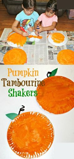 Pumpkin Tambourine Shakers - Simply Today Life - - These DIY Kids Pumpkin Tambourine Shakers Craft will have your kiddos excited about Fall and learning about pumpkins. They are the perfect Fall Kids Craft! Kids Crafts, Easy Fall Crafts, Daycare Crafts, Halloween Crafts For Kids, Fall Toddler Crafts, Crafts For Babies, Autumn Crafts For Kids, Fall Activities For Toddlers, Craft Activities