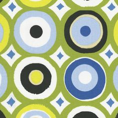 """Blue and Green Giddy Dot Fabric Sold by the Yard  Our colorful Giddy Dot fabric is the perfect mix of Modern and Whimsical. It makes a statement with a bold Lime Green background paired with shades of blues, greens and black. Printed on 100% cotton it's perfect for any product.  100% Cotton  This is a Drapery weight fabric.  Pattern: 12.5"""" vertical by 13.5"""" horizontal repeat  Machine or hand wash separately, delicate cycle, cold water, mild detergent. Do not bleach. Line dry or tumble dry…"""