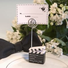 Movie Themed Clapboard Style Place Card Holder - 5346