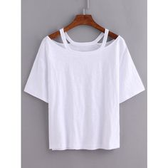 Cutout Loose-Fit White T-shirt ($6.89) ❤ liked on Polyvore featuring tops, t-shirts, shirts, white, loose t shirt, short sleeve t shirt, cut out t shirt, cotton tees and short sleeve tee