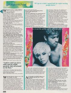 Smash Hits article promoting 'I Want Your Sex' single - June 1987 - Page 3 George Michael Songs, 80s Pop, Magazine Articles, My One And Only, Paper Cover, Childhood Memories, My Love, Singing, Greek