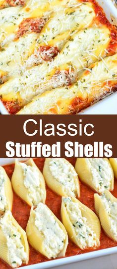 Ricotta Stuffed Shells made with flavorful three cheese ricotta filling and homemade marinara sauce. This stuffed shells recipe is extra cheesy and made with fresh herbs and garlic flavors. Easy Stuffed Shells, Cheese Stuffed Shells, Stuffed Shells Recipe, Healthy Stuffed Shells, Italian Stuffed Shells, Pasta Cheese, Best Pasta Recipes, Crockpot Recipes, Cooking Recipes