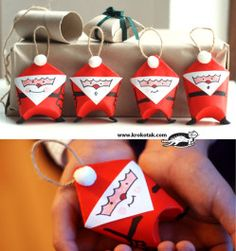 Mini Santa Gift Bags Made Out Of Toilet Paper Rolls ~ Lots of cute toilet paper roll crafts on this site! Noel Christmas, Diy Christmas Ornaments, Christmas Projects, Holiday Crafts, Christmas Decorations, Santa Ornaments, Father Christmas, Simple Christmas, Christmas Wrapping