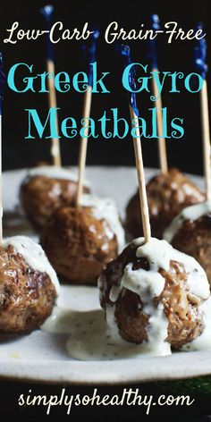 These low-carb Greek Gyro Meatballs taste just like the meat in a Gyro sandwich. This recipe is suitable for low-carb, ketogenic, Atkins, gluten-free, diabetic, and Banting diets.