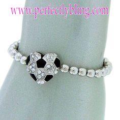 SOCCER Charm Bracelet - Silver Beaded $8.99